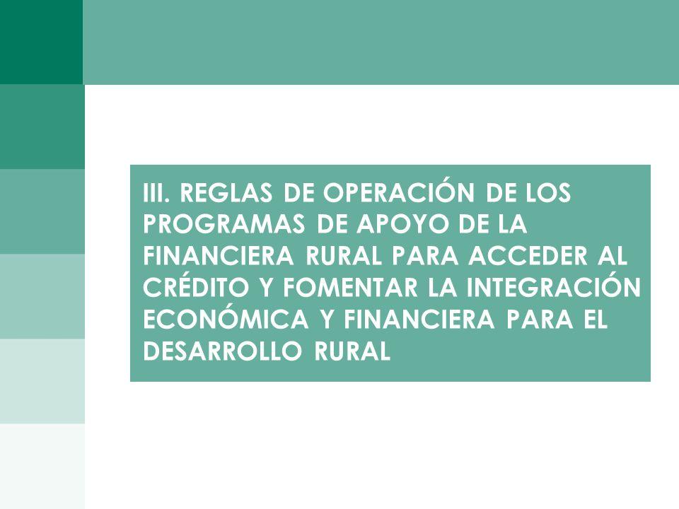 2626 III. REGLAS DE OPERACIÓN DE LOS PROGRAMAS DE APOYO DE LA FINANCIERA RURAL PARA ACCEDER AL CRÉDITO Y FOMENTAR LA INTEGRACIÓN ECONÓMICA Y FINANCIER