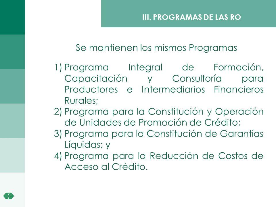 2727 1)Programa Integral de Formación, Capacitación y Consultoría para Productores e Intermediarios Financieros Rurales; 2)Programa para la Constituci