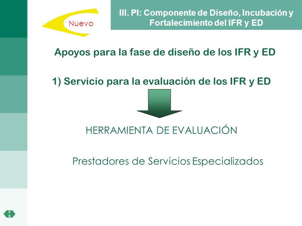 2929 III. PI: Componente de Diseño, Incubación y Fortalecimiento del IFR y ED Apoyos para la fase de diseño de los IFR y ED 1) Servicio para la evalua