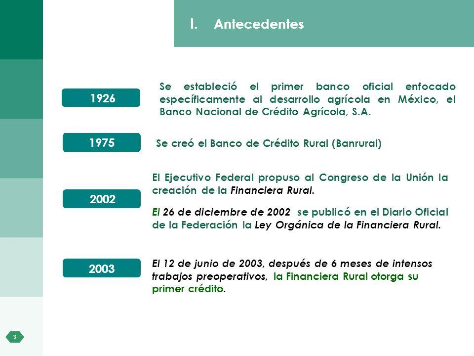 3 El Ejecutivo Federal propuso al Congreso de la Unión la creación de la Financiera Rural. El 26 de diciembre de 2002 se publicó en el Diario Oficial