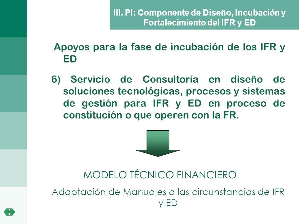 3131 III. PI: Componente de Diseño, Incubación y Fortalecimiento del IFR y ED Apoyos para la fase de incubación de los IFR y ED 6) Servicio de Consult