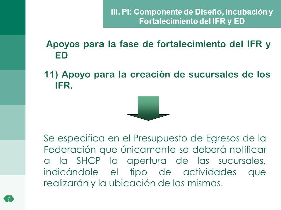 3 III. PI: Componente de Diseño, Incubación y Fortalecimiento del IFR y ED Apoyos para la fase de fortalecimiento del IFR y ED 11) Apoyo para la creac