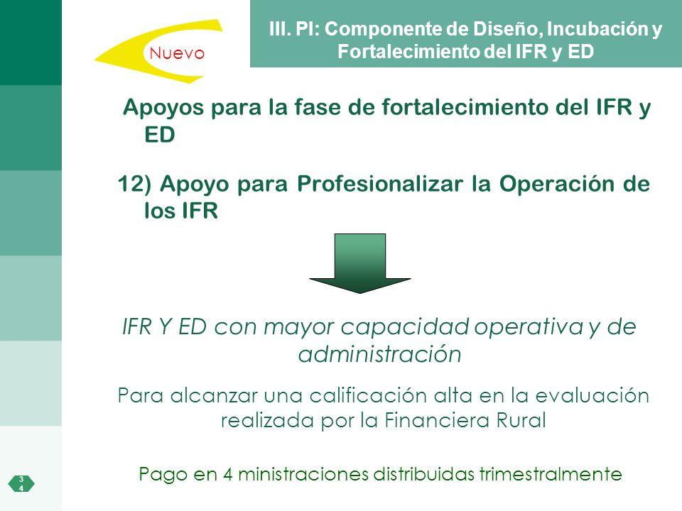 3434 III. PI: Componente de Diseño, Incubación y Fortalecimiento del IFR y ED Apoyos para la fase de fortalecimiento del IFR y ED 12) Apoyo para Profe