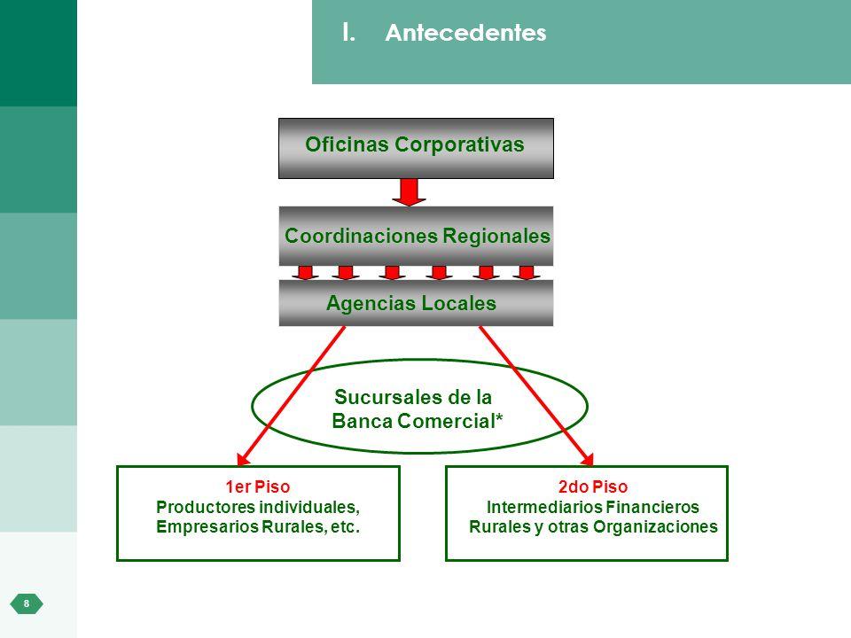 8 I. Antecedentes Oficinas Corporativas Coordinaciones Regionales Agencias Locales Sucursales de la Banca Comercial* 1er Piso Productores individuales