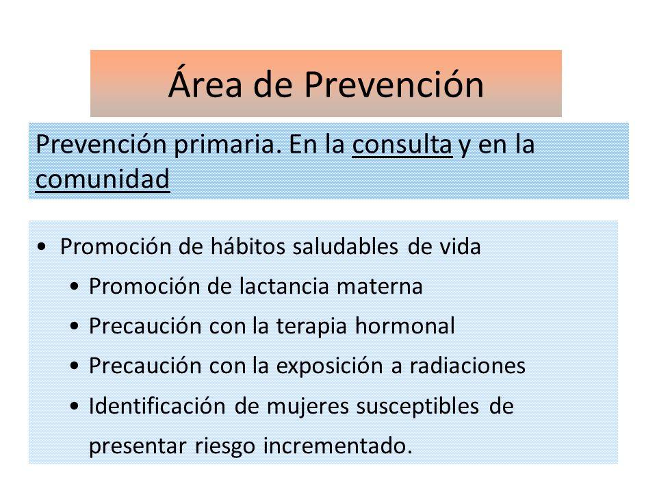 Área de Prevención Prevención primaria. En la consulta y en la comunidad Promoción de hábitos saludables de vida Promoción de lactancia materna Precau