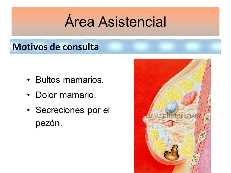 Motivos de consulta Área Asistencial Bultos mamarios. Dolor mamario. Secreciones por el pezón.