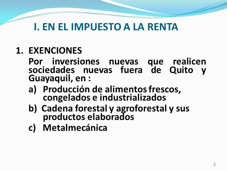 I. EN EL IMPUESTO A LA RENTA 1.EXENCIONES Por inversiones nuevas que realicen sociedades nuevas fuera de Quito y Guayaquil, en : a) Producción de alim