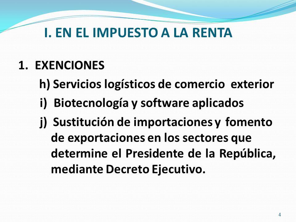 I. EN EL IMPUESTO A LA RENTA 1.EXENCIONES h) Servicios logísticos de comercio exterior i) Biotecnología y software aplicados j) Sustitución de importa