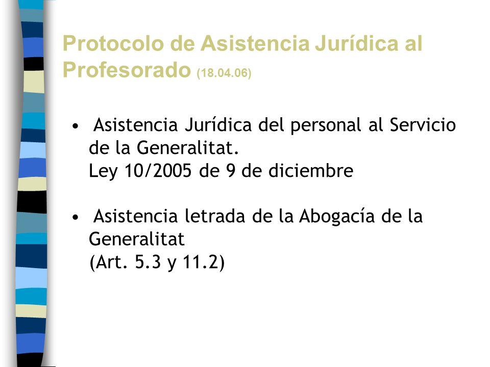 Protocolo de Asistencia Jurídica al Profesorado (18.04.06) Asistencia Jurídica del personal al Servicio de la Generalitat. Ley 10/2005 de 9 de diciemb