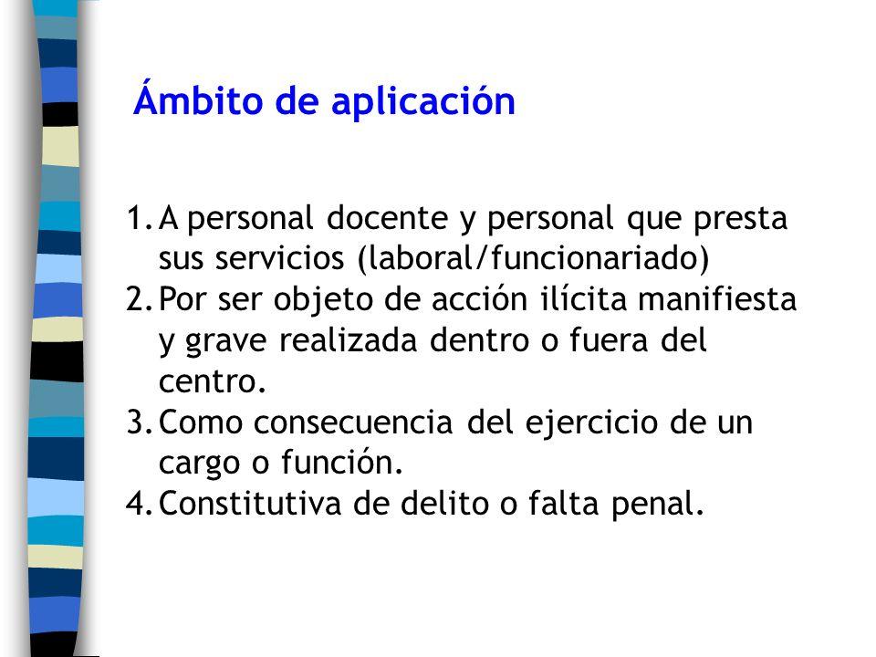 Ámbito de aplicación 1.A personal docente y personal que presta sus servicios (laboral/funcionariado) 2.Por ser objeto de acción ilícita manifiesta y