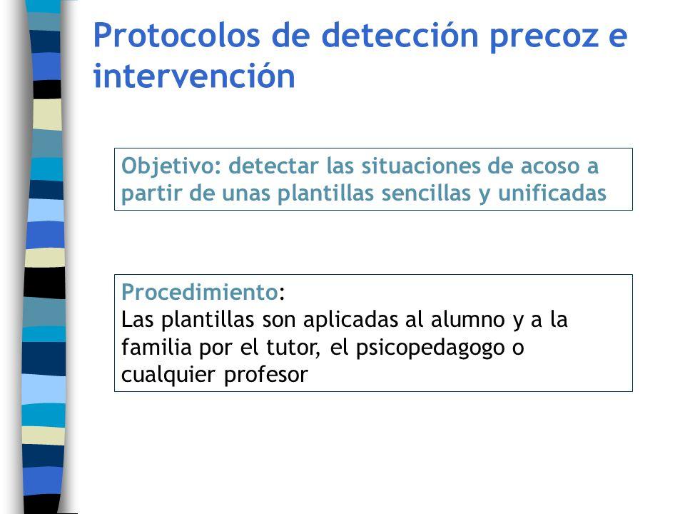 Protocolos de detección precoz e intervención Objetivo: detectar las situaciones de acoso a partir de unas plantillas sencillas y unificadas Procedimi