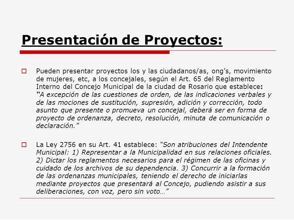 Presentación de Proyectos: Pueden presentar proyectos los y las ciudadanos/as, ongs, movimiento de mujeres, etc, a los concejales, según el Art.