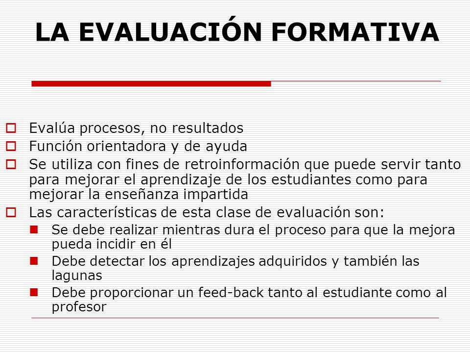 LA EVALUACIÓN FORMATIVA Evalúa procesos, no resultados Función orientadora y de ayuda Se utiliza con fines de retroinformación que puede servir tanto