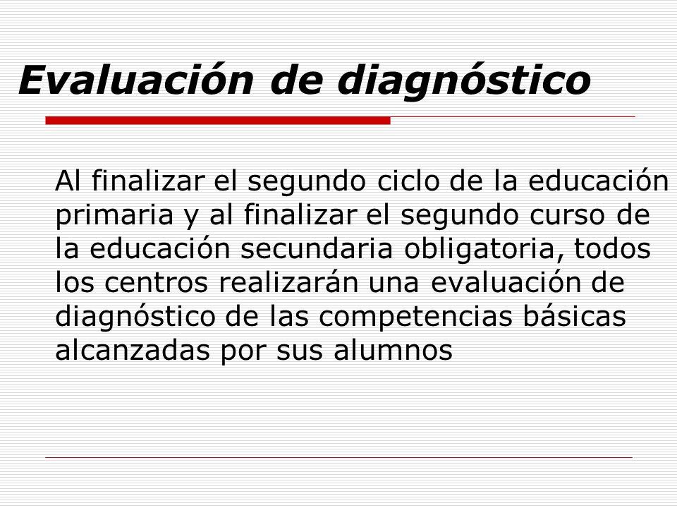 Evaluación de diagnóstico Al finalizar el segundo ciclo de la educación primaria y al finalizar el segundo curso de la educación secundaria obligatori