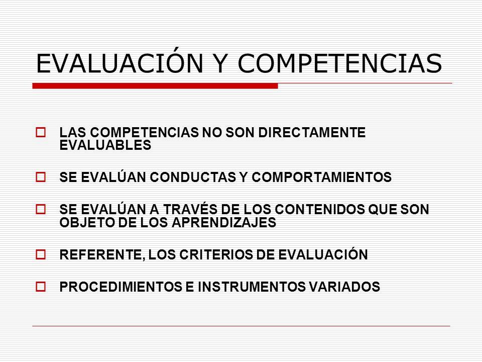 EVALUACIÓN Y COMPETENCIAS LAS COMPETENCIAS NO SON DIRECTAMENTE EVALUABLES SE EVALÚAN CONDUCTAS Y COMPORTAMIENTOS SE EVALÚAN A TRAVÉS DE LOS CONTENIDOS