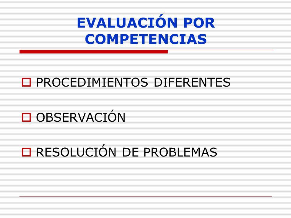 EVALUACIÓN POR COMPETENCIAS PROCEDIMIENTOS DIFERENTES OBSERVACIÓN RESOLUCIÓN DE PROBLEMAS