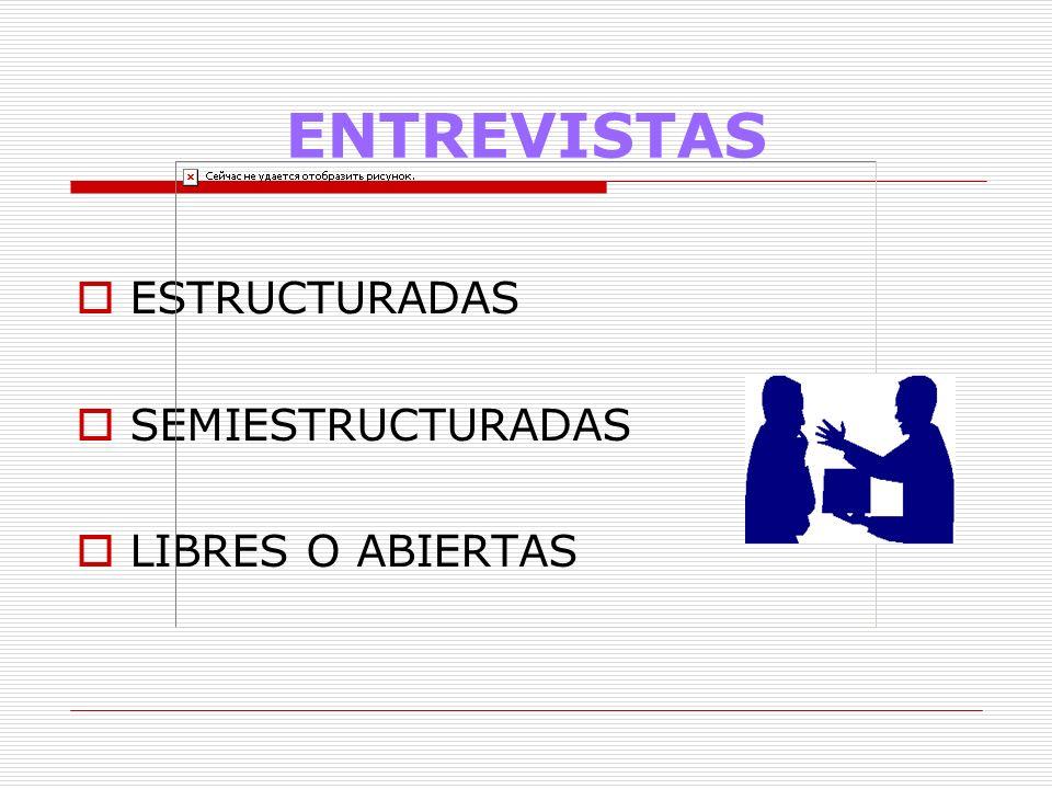 ENTREVISTAS ESTRUCTURADAS SEMIESTRUCTURADAS LIBRES O ABIERTAS