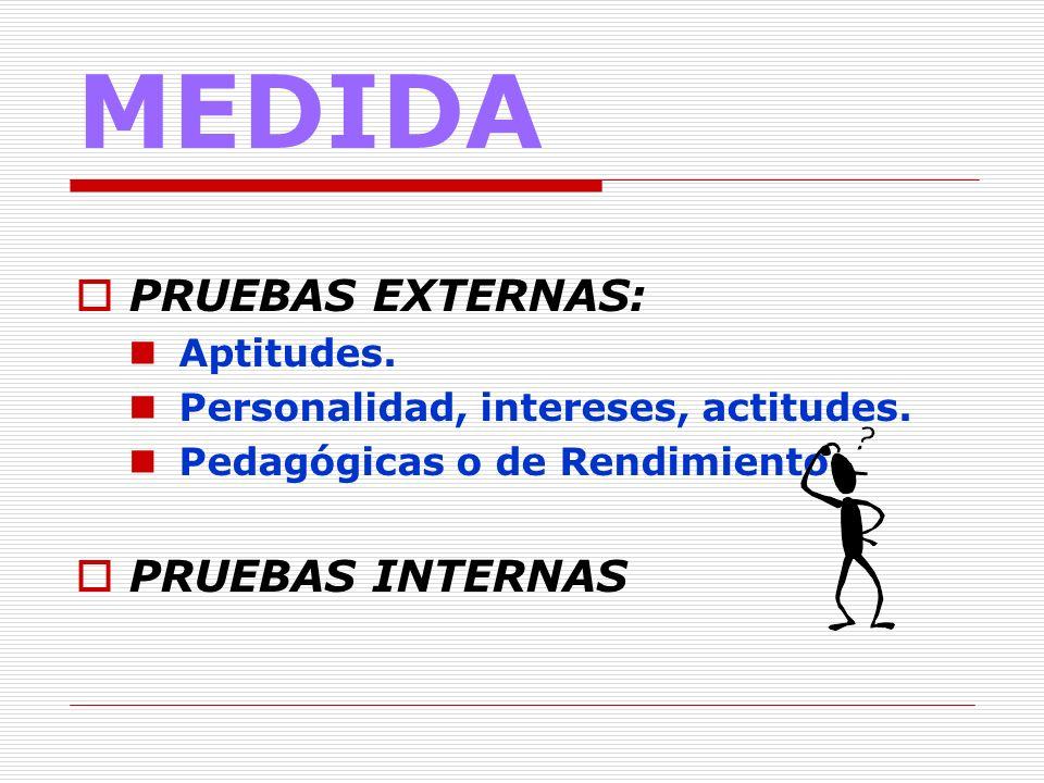 MEDIDA PRUEBAS EXTERNAS: Aptitudes. Personalidad, intereses, actitudes. Pedagógicas o de Rendimiento. PRUEBAS INTERNAS