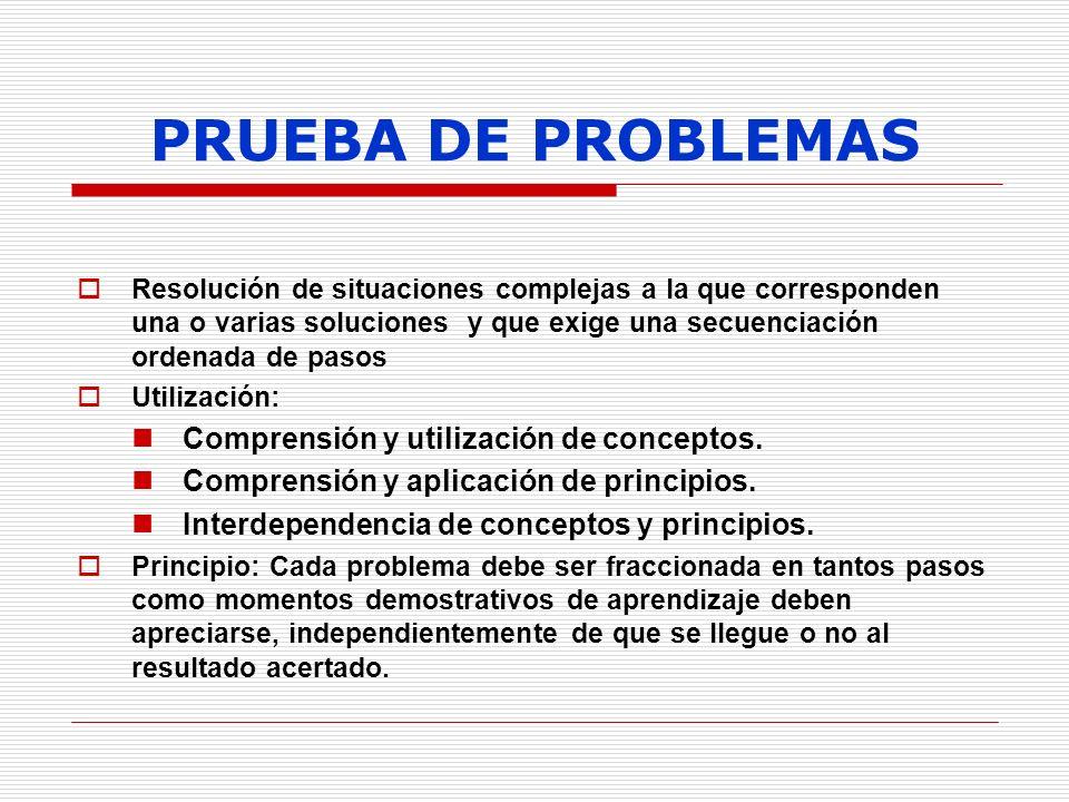 PRUEBA DE PROBLEMAS Resolución de situaciones complejas a la que corresponden una o varias soluciones y que exige una secuenciación ordenada de pasos
