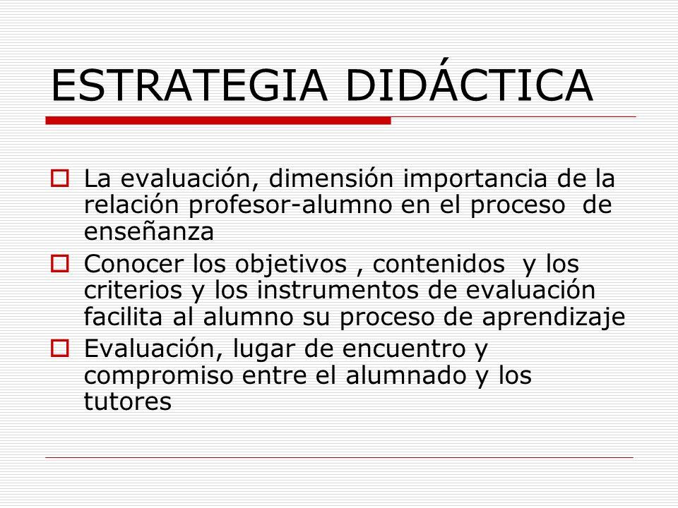 ESTRATEGIA DIDÁCTICA La evaluación, dimensión importancia de la relación profesor-alumno en el proceso de enseñanza Conocer los objetivos, contenidos