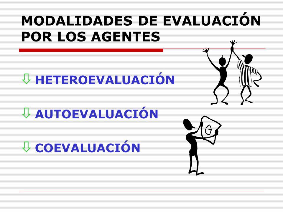 MODALIDADES DE EVALUACIÓN POR LOS AGENTES ò HETEROEVALUACIÓN ò AUTOEVALUACIÓN ò COEVALUACIÓN