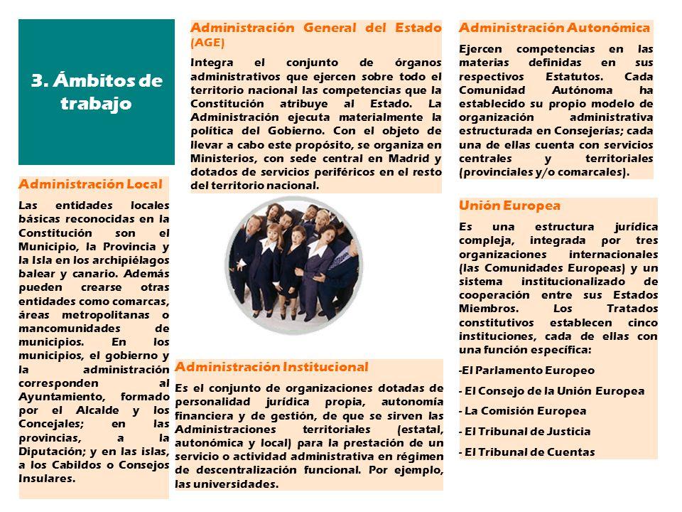 Administración General del Estado (AGE) Integra el conjunto de órganos administrativos que ejercen sobre todo el territorio nacional las competencias