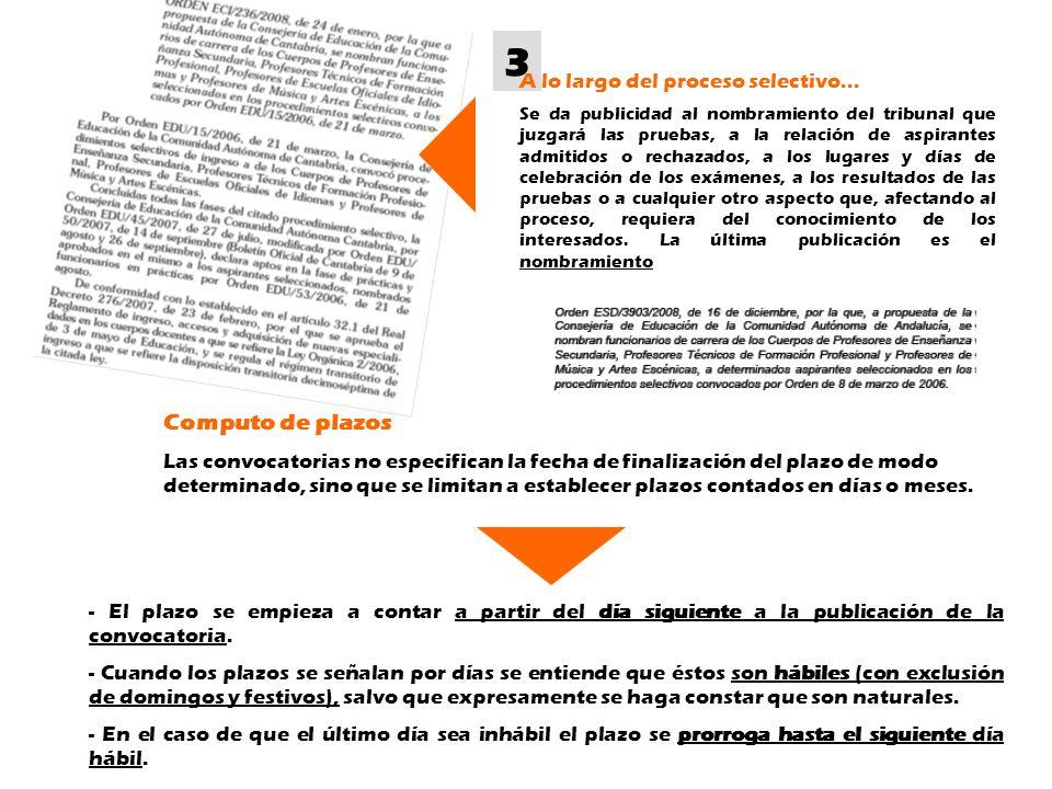 3 A lo largo del proceso selectivo... Se da publicidad al nombramiento del tribunal que juzgará las pruebas, a la relación de aspirantes admitidos o r