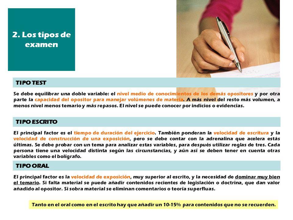 2. Los tipos de examen El principal factor es el tiempo de duración del ejercicio. También ponderan la velocidad de escritura y la velocidad de constr