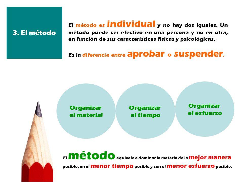 El método es individual y no hay dos iguales. Un método puede ser efectivo en una persona y no en otra, en función de sus características físicas y ps