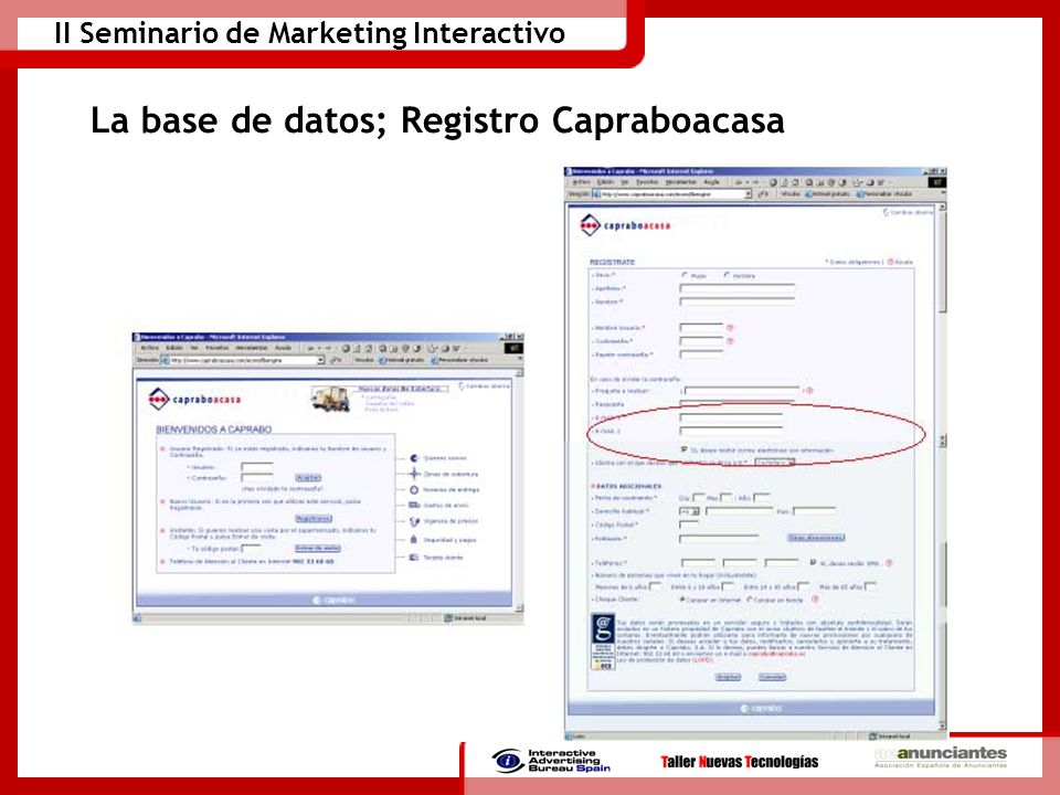 II Seminario de Marketing Interactivo La base de datos; Registro Capraboacasa