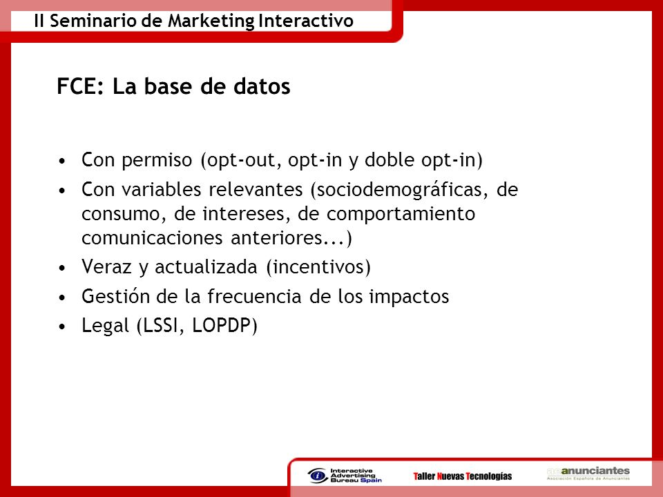 II Seminario de Marketing Interactivo Tipos de acciones: Cheque Cliente