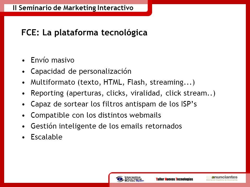 II Seminario de Marketing Interactivo FCE: La plataforma tecnológica Envío masivo Capacidad de personalización Multiformato (texto, HTML, Flash, strea
