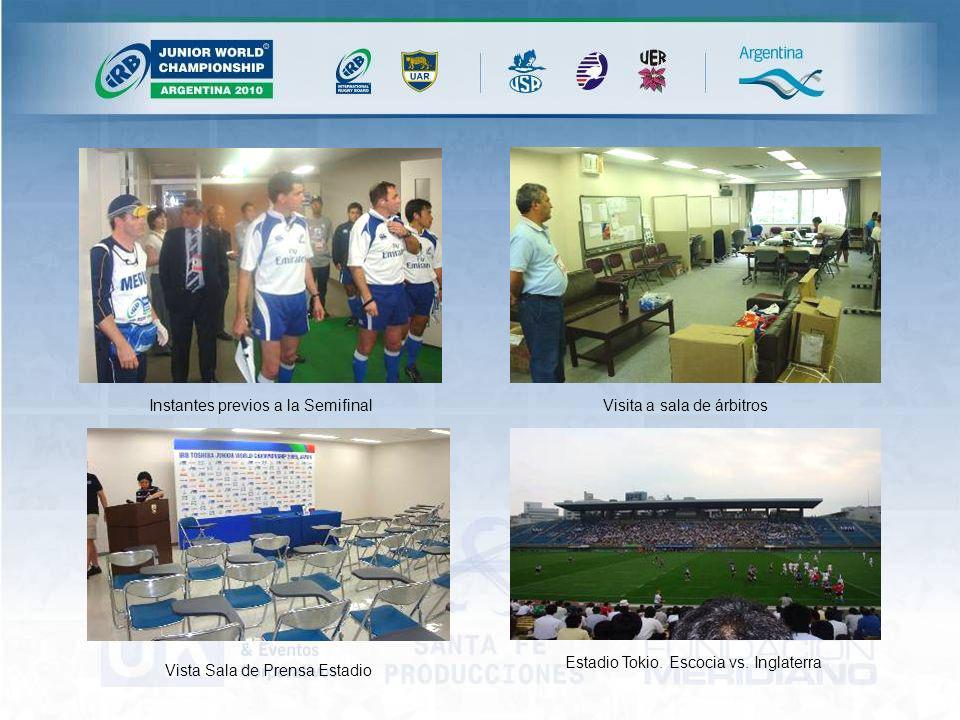 Instantes previos a la SemifinalVisita a sala de árbitros Vista Sala de Prensa Estadio Estadio Tokio.