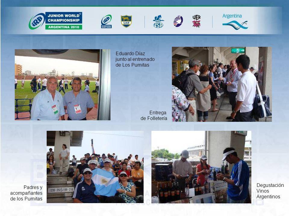 Eduardo Díaz junto al entrenado de Los Pumitas Entrega de Folletería Padres y acompañantes de los Pumitas Degustación Vinos Argentinos
