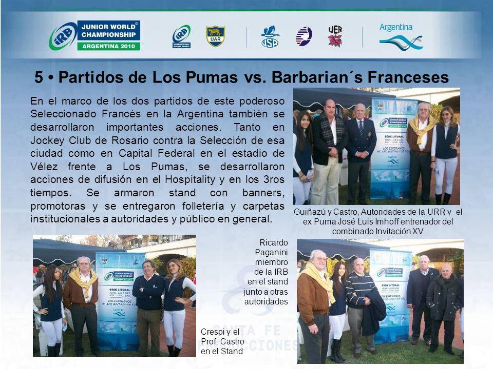 En el marco de los dos partidos de este poderoso Seleccionado Francés en la Argentina también se desarrollaron importantes acciones.