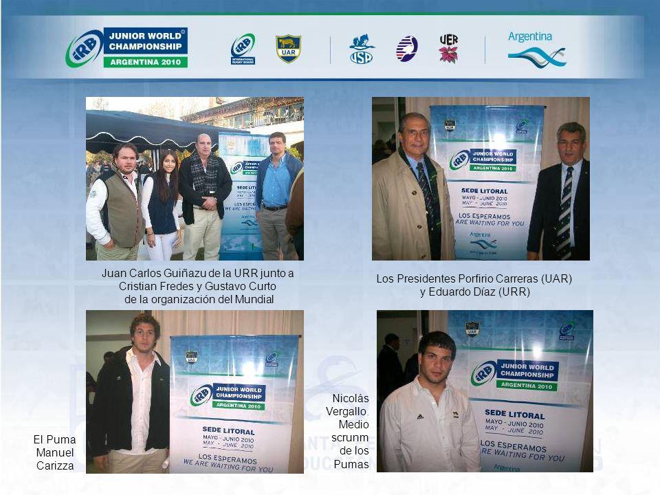 Juan Carlos Guiñazu de la URR junto a Cristian Fredes y Gustavo Curto de la organización del Mundial Los Presidentes Porfirio Carreras (UAR) y Eduardo Díaz (URR) El Puma Manuel Carizza Nicolás Vergallo.