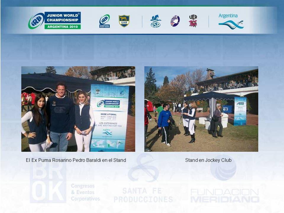 Stand en Jockey ClubEl Ex Puma Rosarino Pedro Baraldi en el Stand