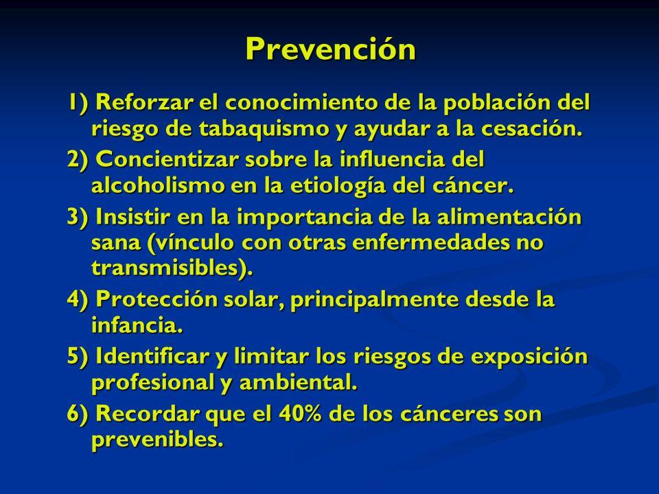 Prevención 1) Reforzar el conocimiento de la población del riesgo de tabaquismo y ayudar a la cesación.