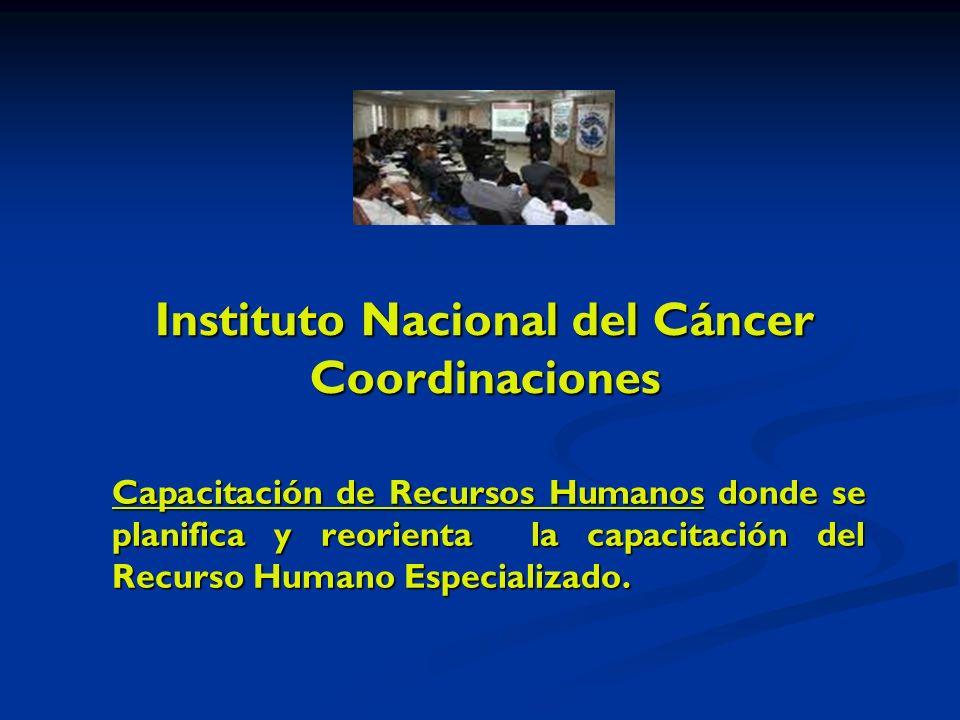 Instituto Nacional del Cáncer Coordinaciones Capacitación de Recursos Humanos donde se planifica y reorienta la capacitación del Recurso Humano Especializado.