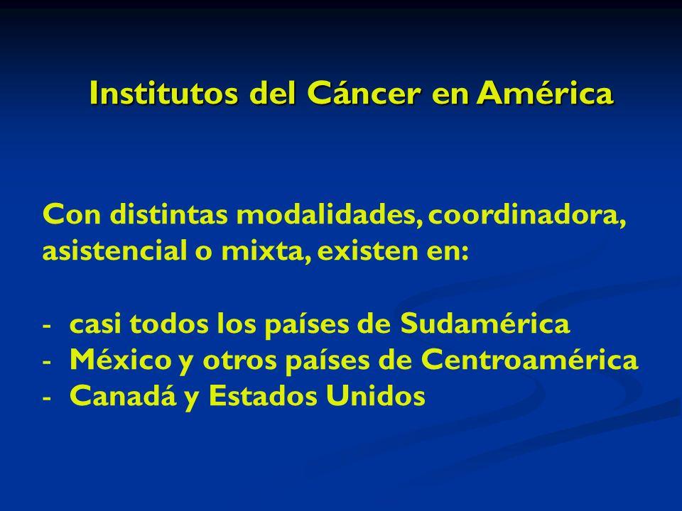 Institutos del Cáncer en América Con distintas modalidades, coordinadora, asistencial o mixta, existen en: - casi todos los países de Sudamérica - México y otros países de Centroamérica - Canadá y Estados Unidos