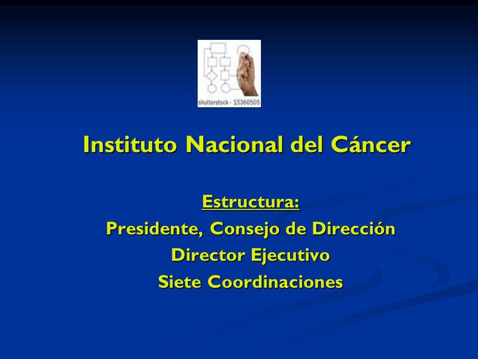 Instituto Nacional del Cáncer Estructura: Presidente, Consejo de Dirección Director Ejecutivo Siete Coordinaciones