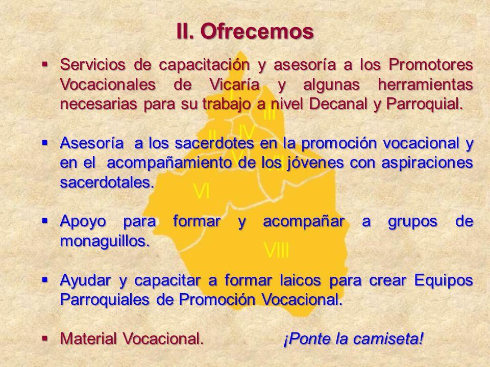 Servicios de capacitación y asesoría a los Promotores Vocacionales de Vicaría y algunas herramientas necesarias para su trabajo a nivel Decanal y Parr