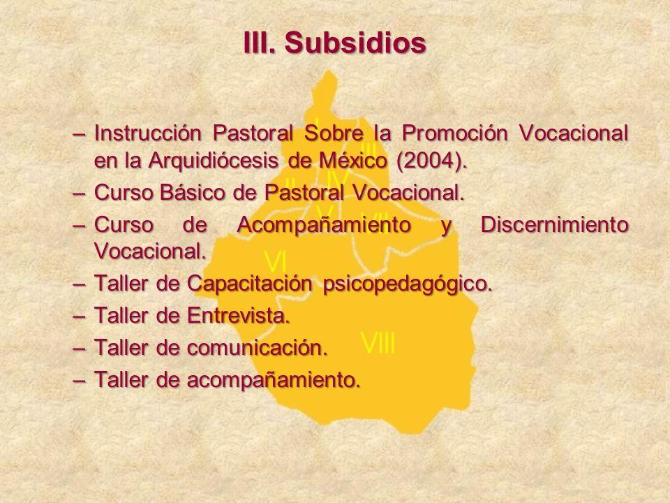 –Instrucción Pastoral Sobre la Promoción Vocacional en la Arquidiócesis de México (2004). –Curso Básico de Pastoral Vocacional. –Curso de Acompañamien