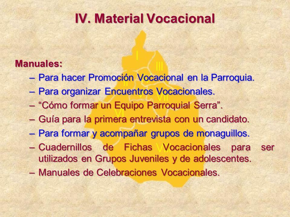 Manuales: –Para hacer Promoción Vocacional en la Parroquia. –Para organizar Encuentros Vocacionales. –Cómo formar un Equipo Parroquial Serra. –Guía pa