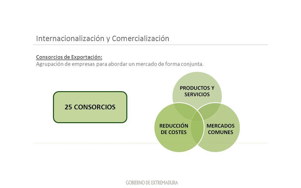 Internacionalización y Comercialización Consorcios de Exportación: Agrupación de empresas para abordar un mercado de forma conjunta. 25 CONSORCIOS