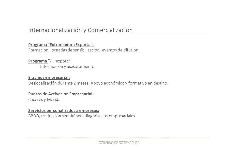 Internacionalización y Comercialización Programa Extremadura Exporta: Formación, jornadas de sensibilización, eventos de difusión. Programa í –export: