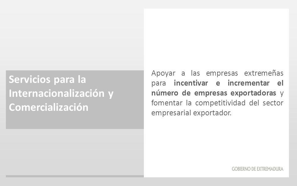 Servicios para la Internacionalización y Comercialización Apoyar a las empresas extremeñas para incentivar e incrementar el número de empresas exporta