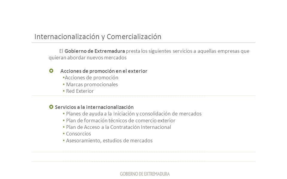 Internacionalización y Comercialización El Gobierno de Extremadura presta los siguientes servicios a aquellas empresas que quieran abordar nuevos merc