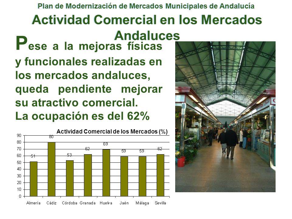 Plan de Modernización de Mercados Municipales de Andalucía Actividad Comercial en los Mercados Andaluces P ese a la mejoras físicas y funcionales real