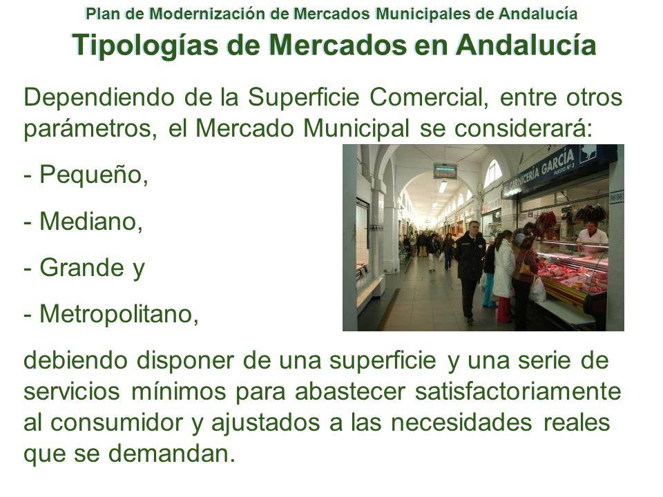 Plan de Modernización de Mercados Municipales de Andalucía Tipologías de Mercados en Andalucía Dependiendo de la Superficie Comercial, entre otros par